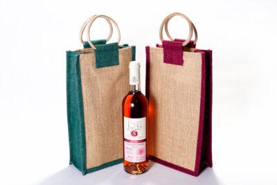 Jutová taška na 2 lahve bez průhledu barevná